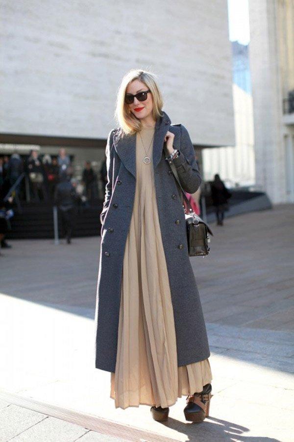 Как Носить Длинное Платье С Пальто