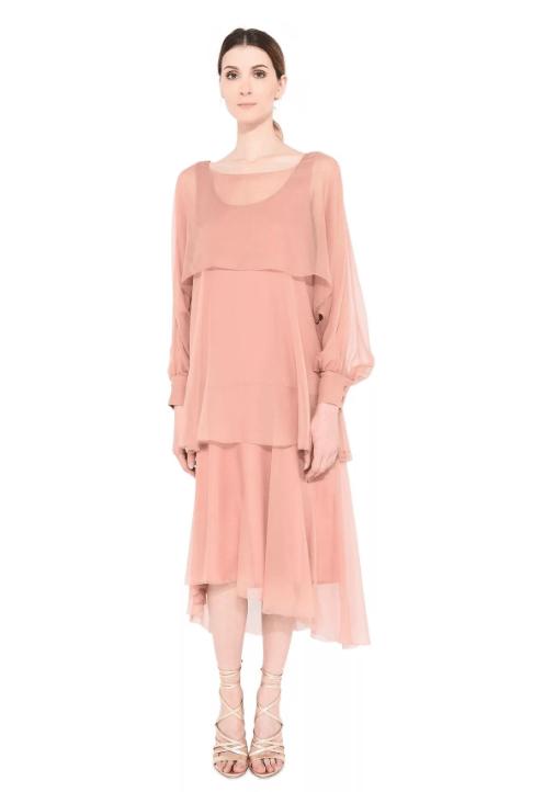 Многослойное платье из шифона