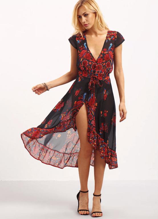 Платье из шифона с запахом