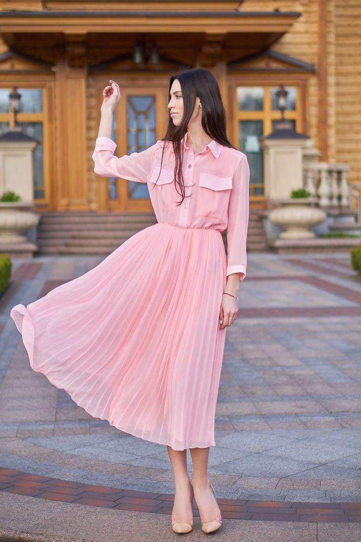 Платье из шифона плиссированное
