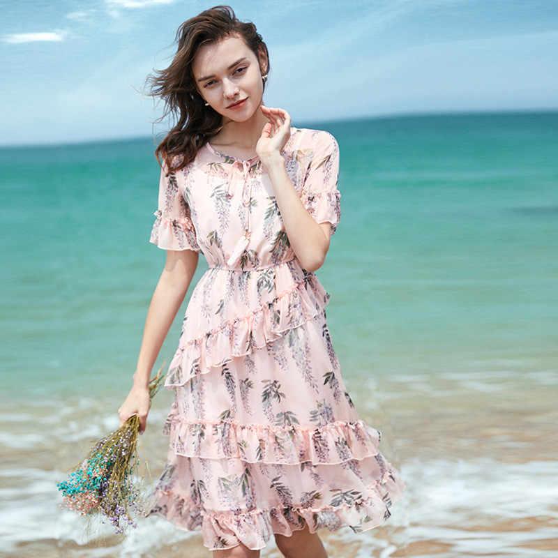 Платье из шифона с рюшами