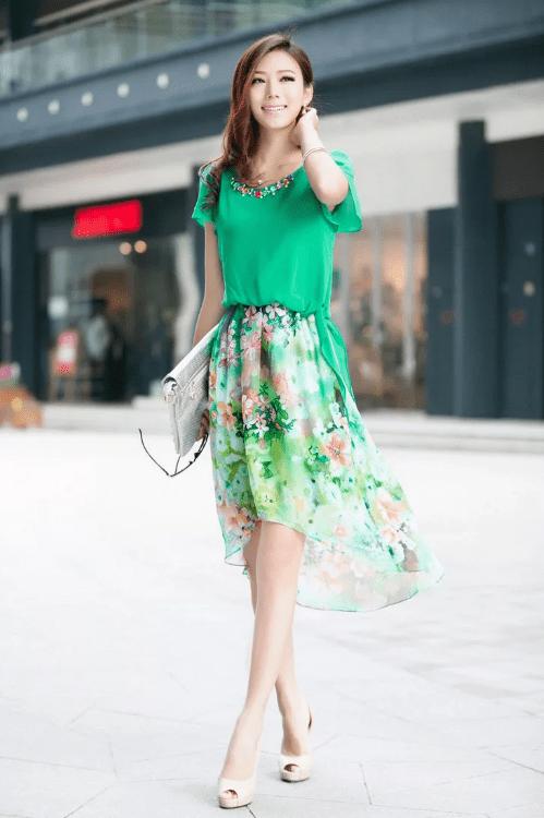Платье из шифона с юбкой