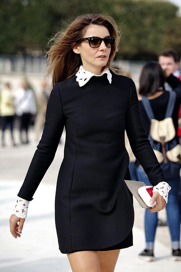 Коко Шанель черное платье с белым воротником