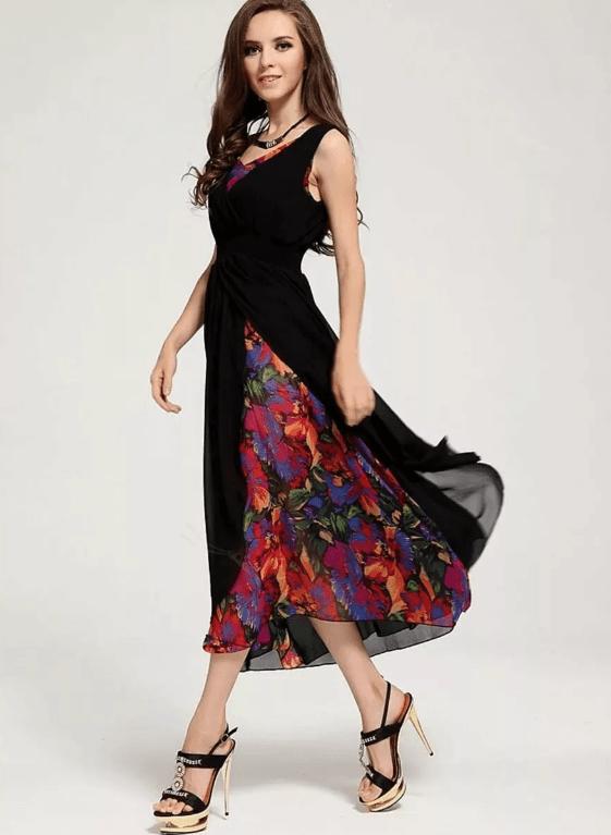 Платье из шифона и крепа