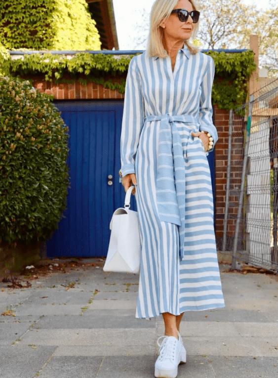 платье для женщины 50 лет в полоску