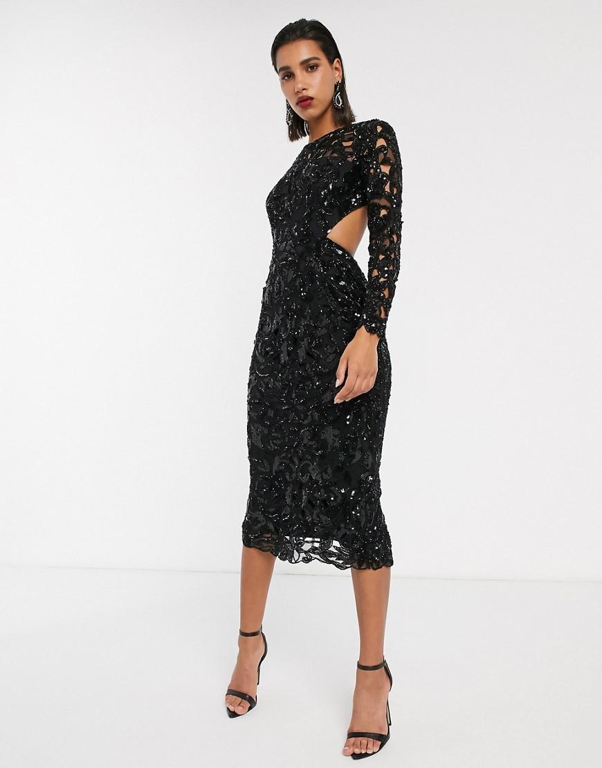 миди платье с пайетками
