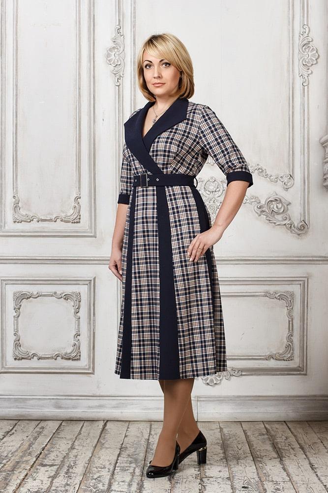 красивое платье в клетку для женщины 50 лет