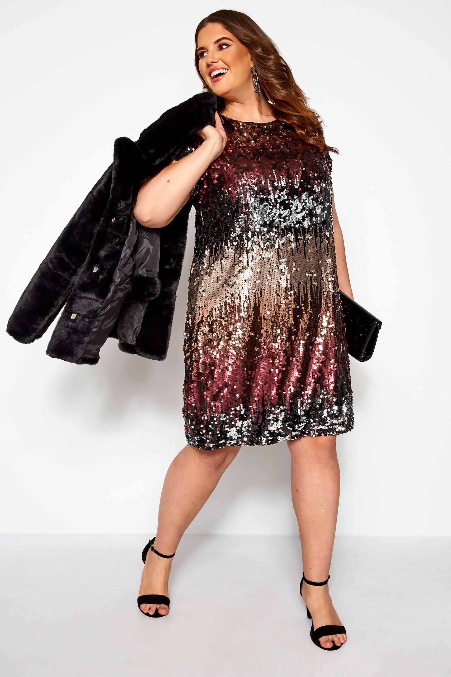 платье с пайетками для полных