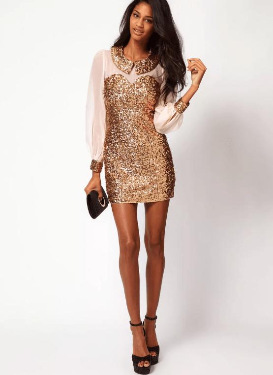 платье с пайетками с шифоновым рукавом