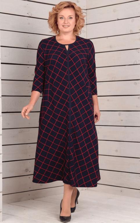 длинное платье в клетку для женщины 50 лет