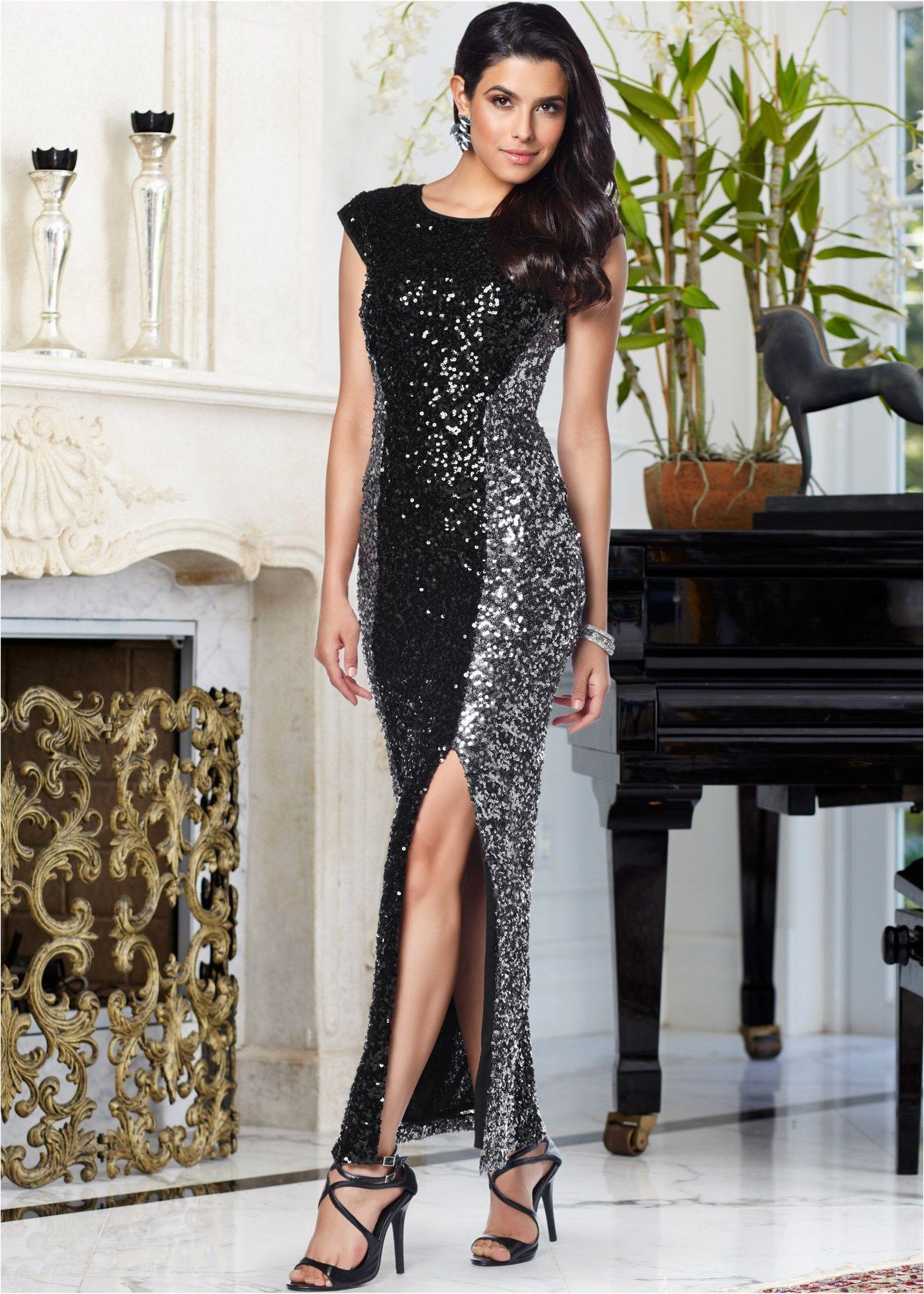 платье с пайетками с разрезом