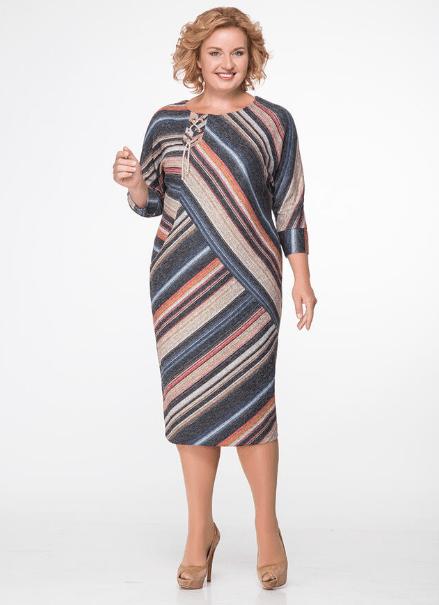 Нарядное платье в полоску для женщины 50 лет