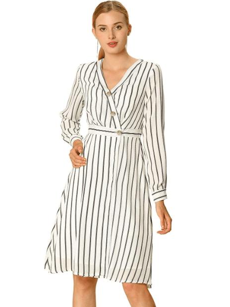 Платье с запахом в полосочку