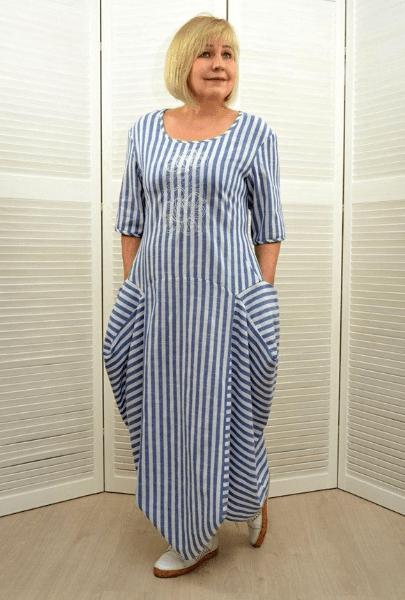 Платье бохо в полоску