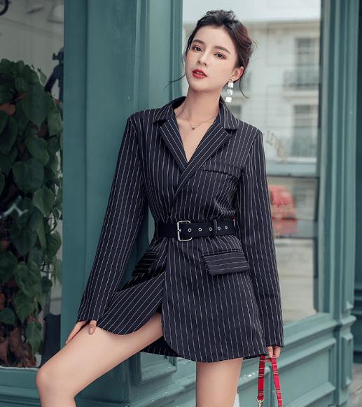 Платье пиджак в полоску