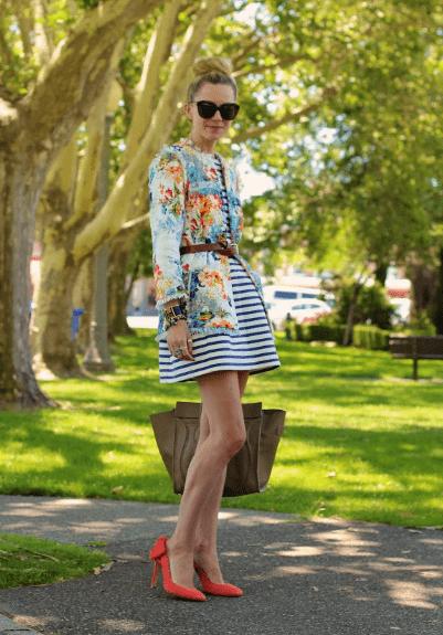 Платье в полоску с юбкой колокол