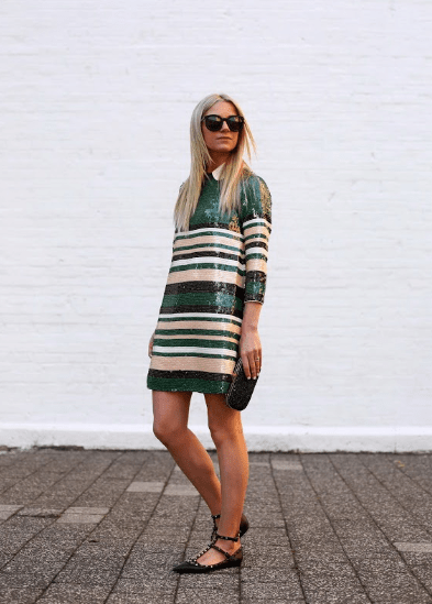 Платье с люрексом в полоску