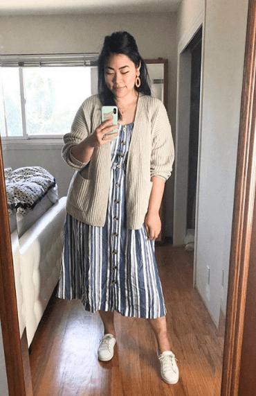 платье сарафан с кроссовками