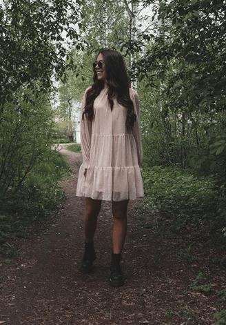 Платье трапеция с волананами