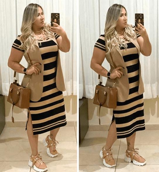 полосатое платье с кроссовками