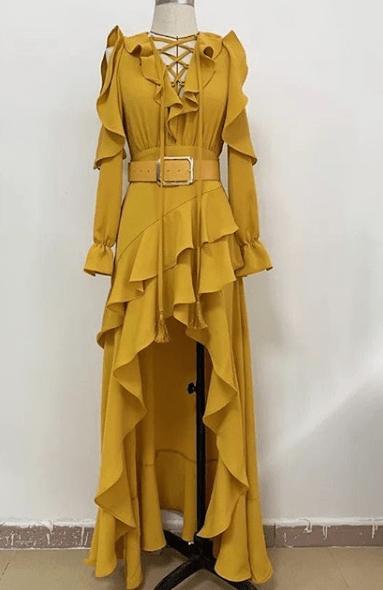 Платье асимметричное с волананами