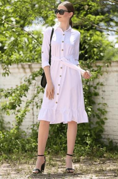 Платье рубашка с волананами