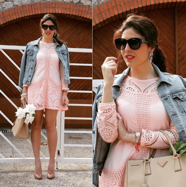 Розовое платье и серьги