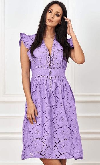 сиреневое кружевное платье