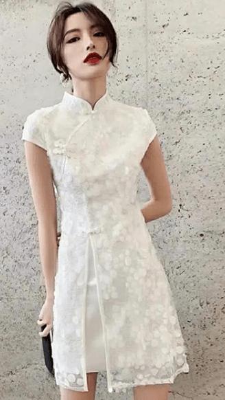 белое китайское кружевное платье