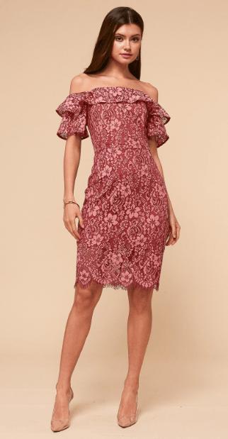 кружевное платье с рукавами фонариками