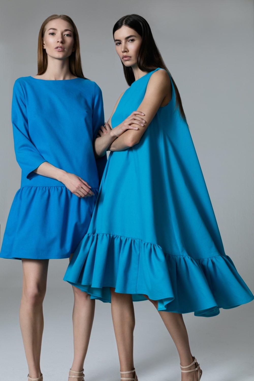 Платье с волананами оверсайз