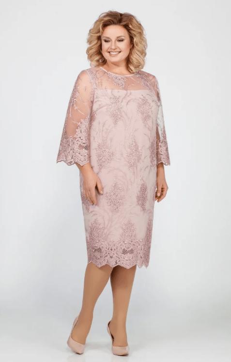 Прямое платье с шифоновыми рукавами на свадьбу для мамы