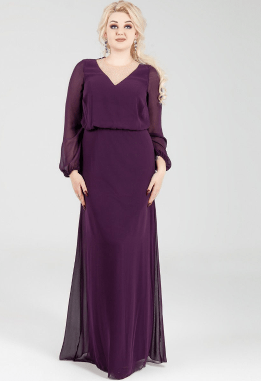 вищневое длинное платье на свадьбу для мамы