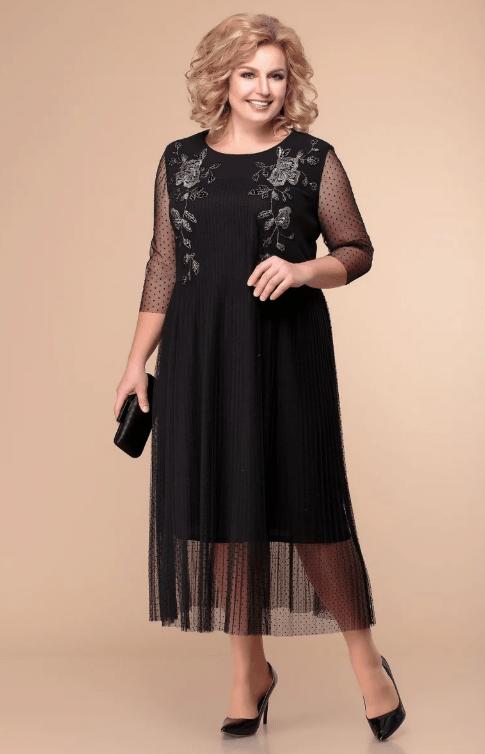 черное с шифоном платье на свадьбу для мамы