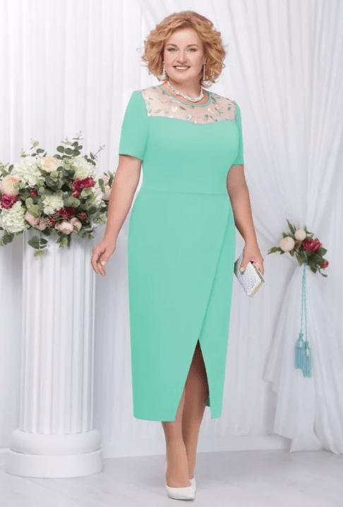 нежное зеленое платье на свадьбу для мамы