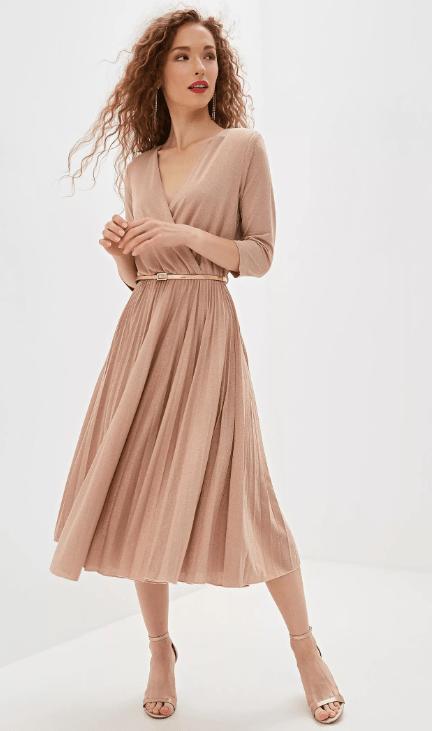 розово бежевое платье