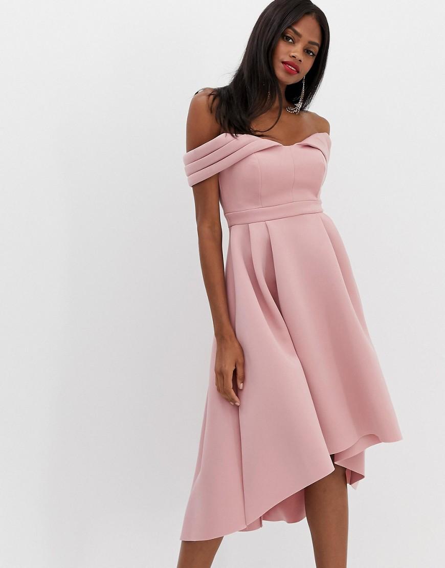 асимметричное розовое платье
