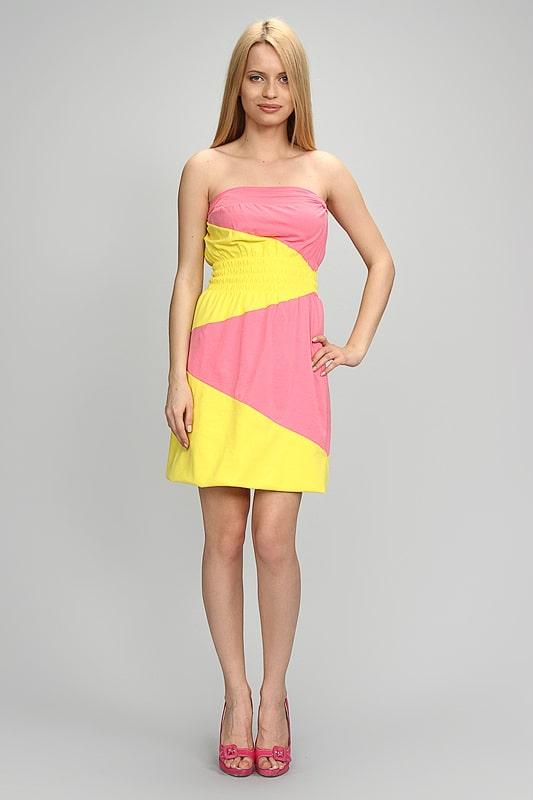 розово желтое платье