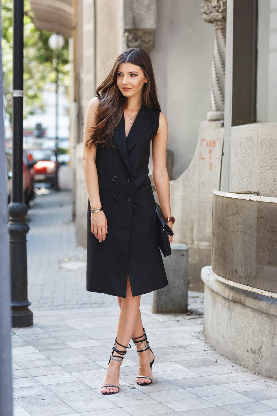 Черное платье пиджак миди
