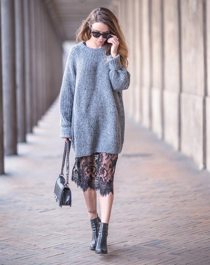 свитер оверсайз и кружево