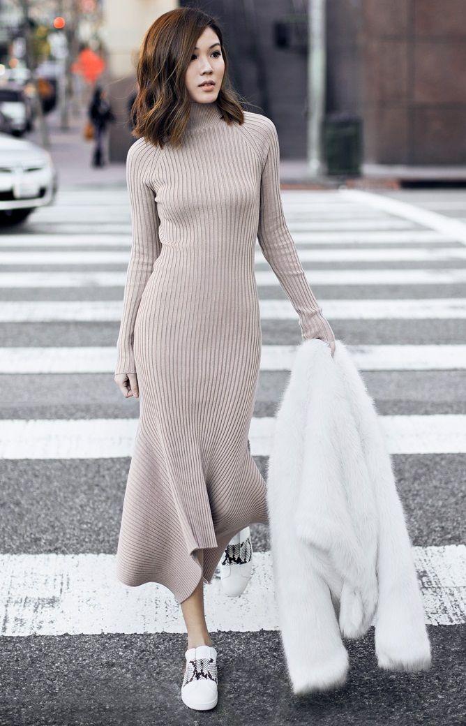 полуоблегающее платье с шубой