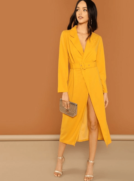 Желтой платье пиджак миди