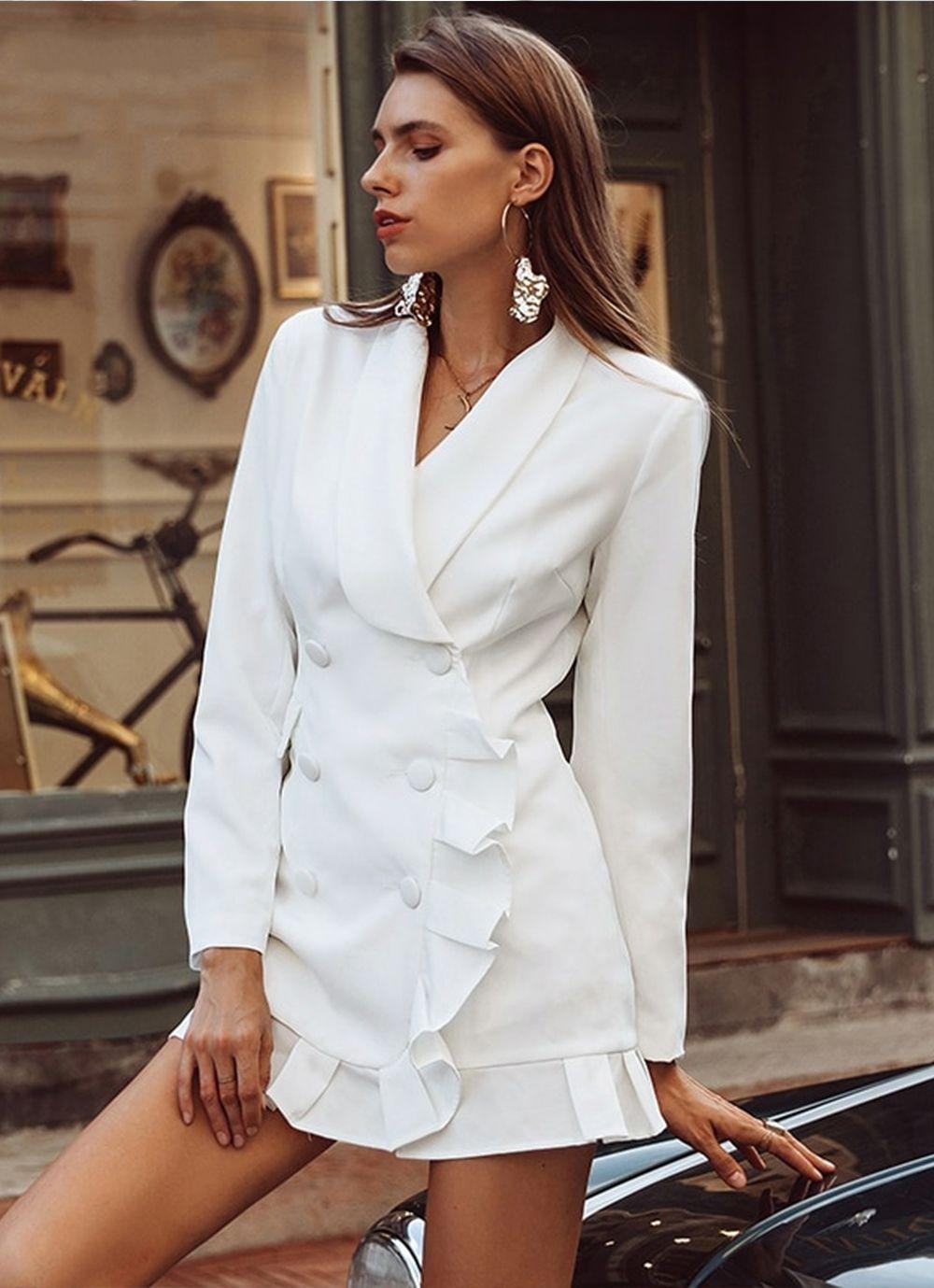 платье пиджак с рюшами