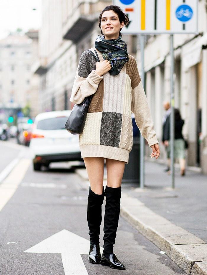 вязаное платье с платком