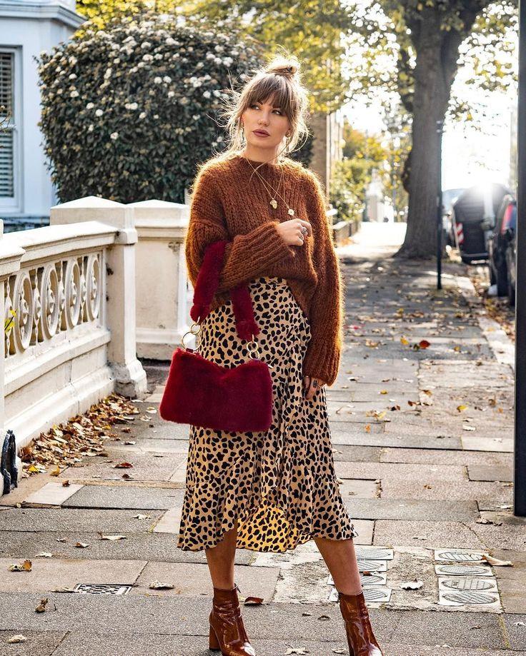 леопардовое платье и свитер