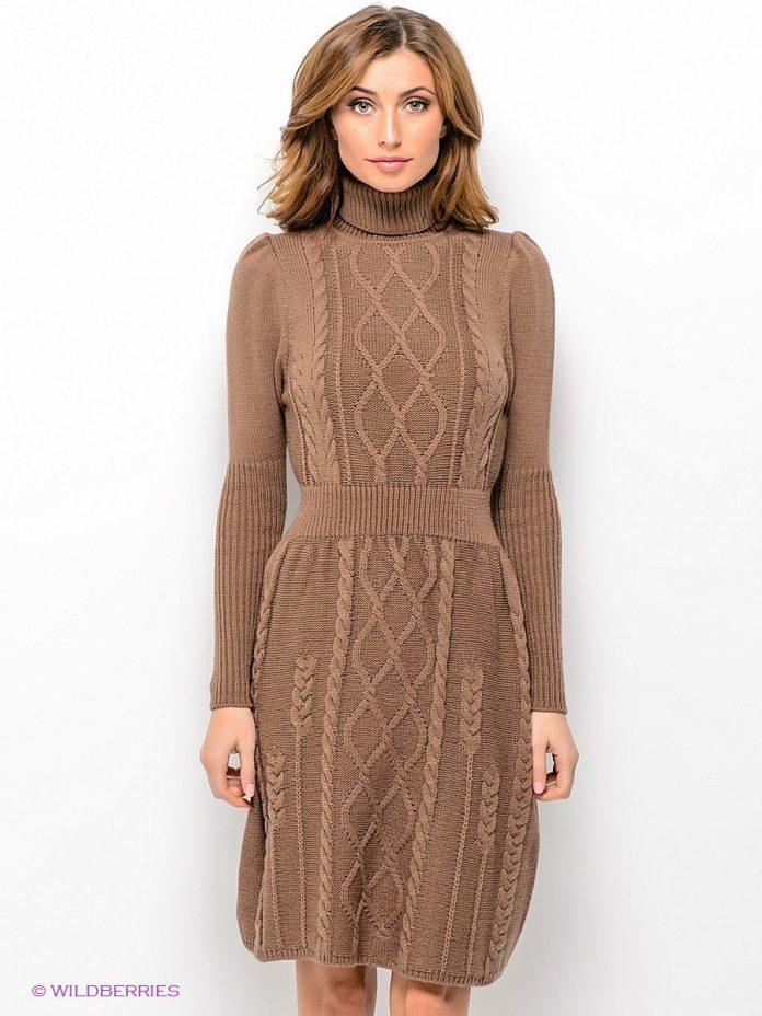 вязаное платье с ажурным передом