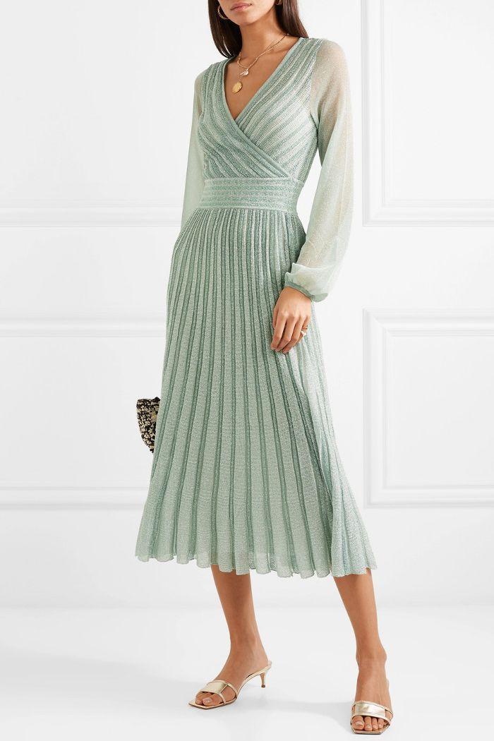 плиссированное платье с люрексом