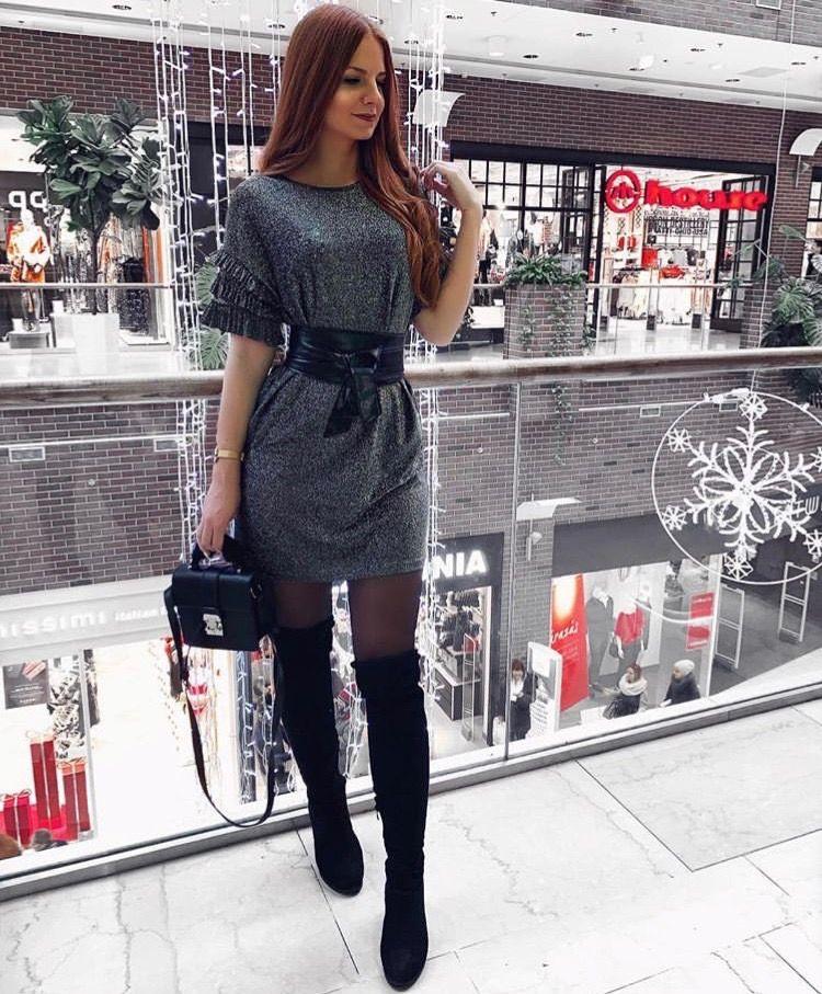 короткое платье с люрексом