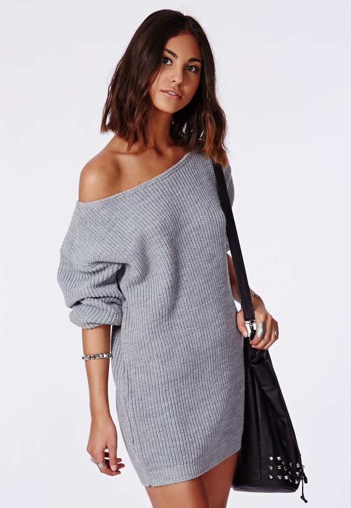 вязаное платье на одно плечо
