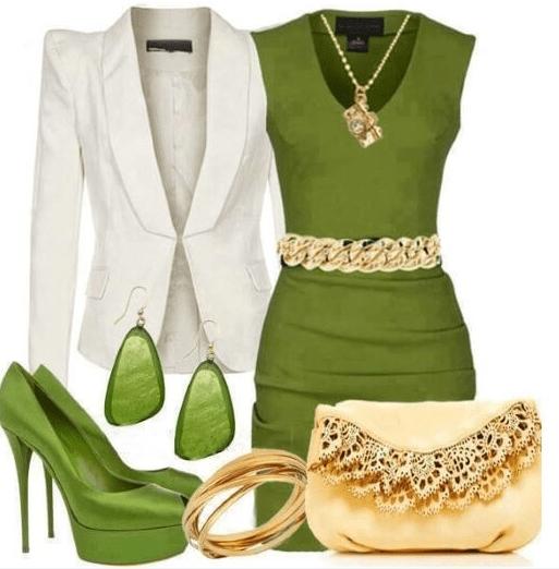 зеленое платье с белым пиджаком